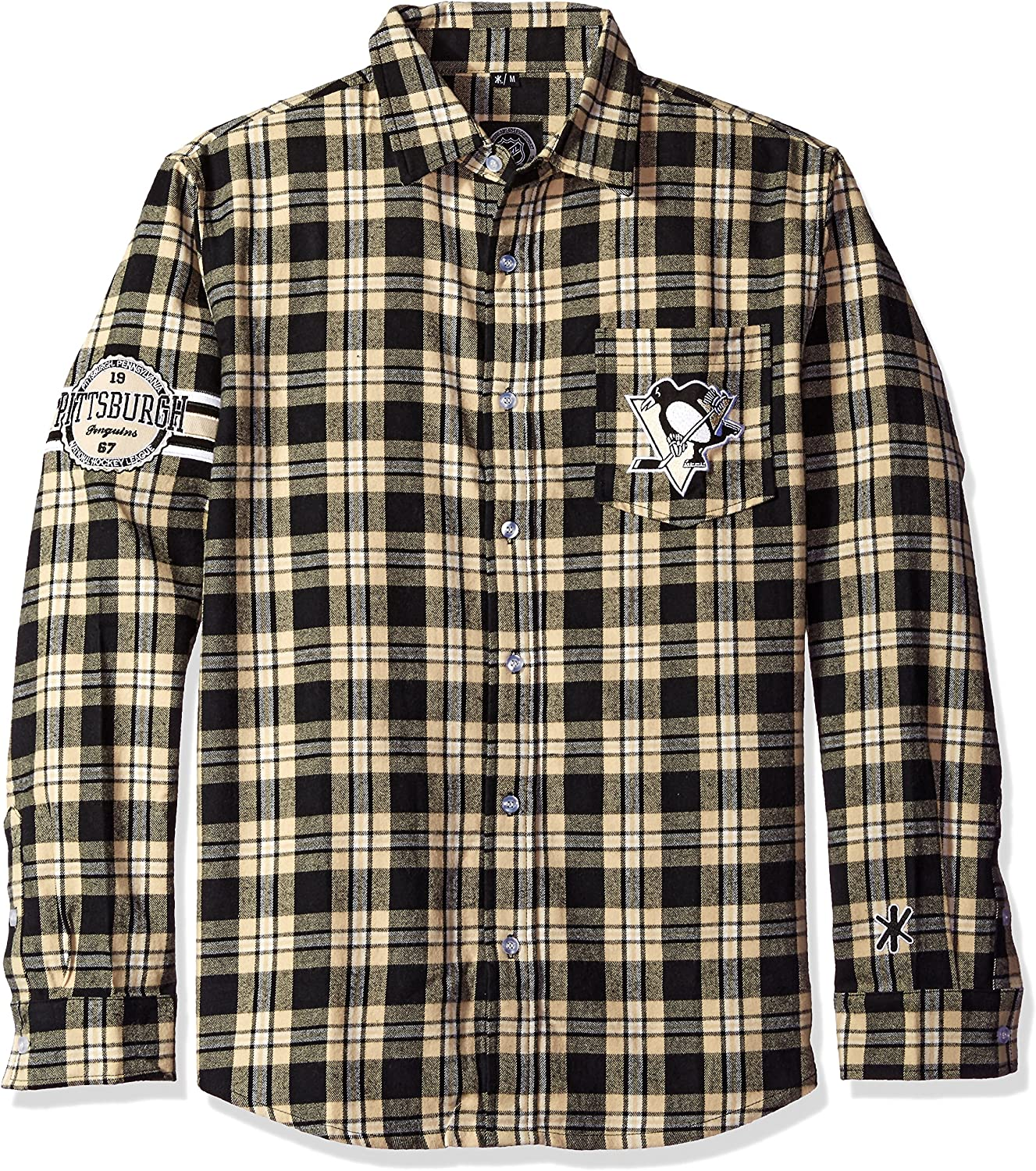 Pittsburgh Fresno Mall Penguins Wordmark Basic Small Max 45% OFF Shirt Flannel