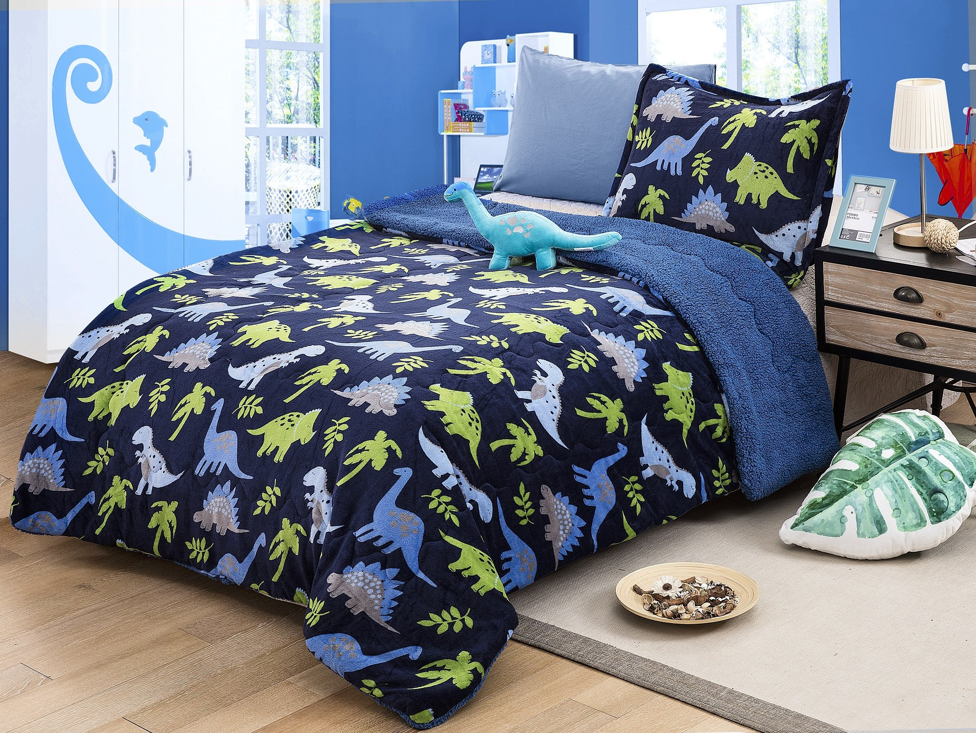 All American Collection New Super Soft and Warm 3 Piece Borrego/Sherpa Blanket with Pillow Sham and Cushion Twin Size (Dinosaur)