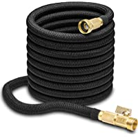 "Nifty Grower 100ft Garden Hose - All New Expandable Water Hose with Double Latex Core, 3/4"" Solid Brass Fittings, Extra Strength Fabric - Flexible Expanding Hose with Storage Bag for Easy Carry"