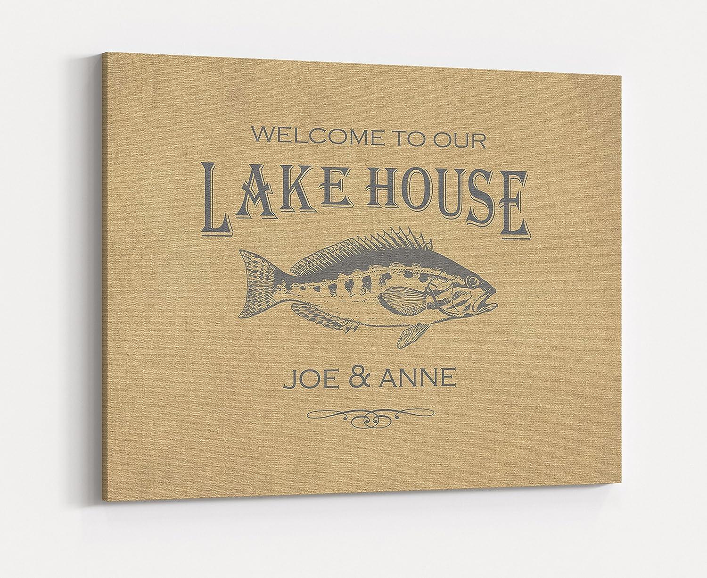 Amazon.com: Custom Family Name Canvas Sign, Personalized Lake House ...