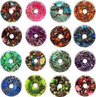50mm Gemstone Dyed Sea Sediment Jasper Reiki Healing Chakra Donut Pendant Bead DIY Jewelry Accressory Necklace Kit (Multi-color)