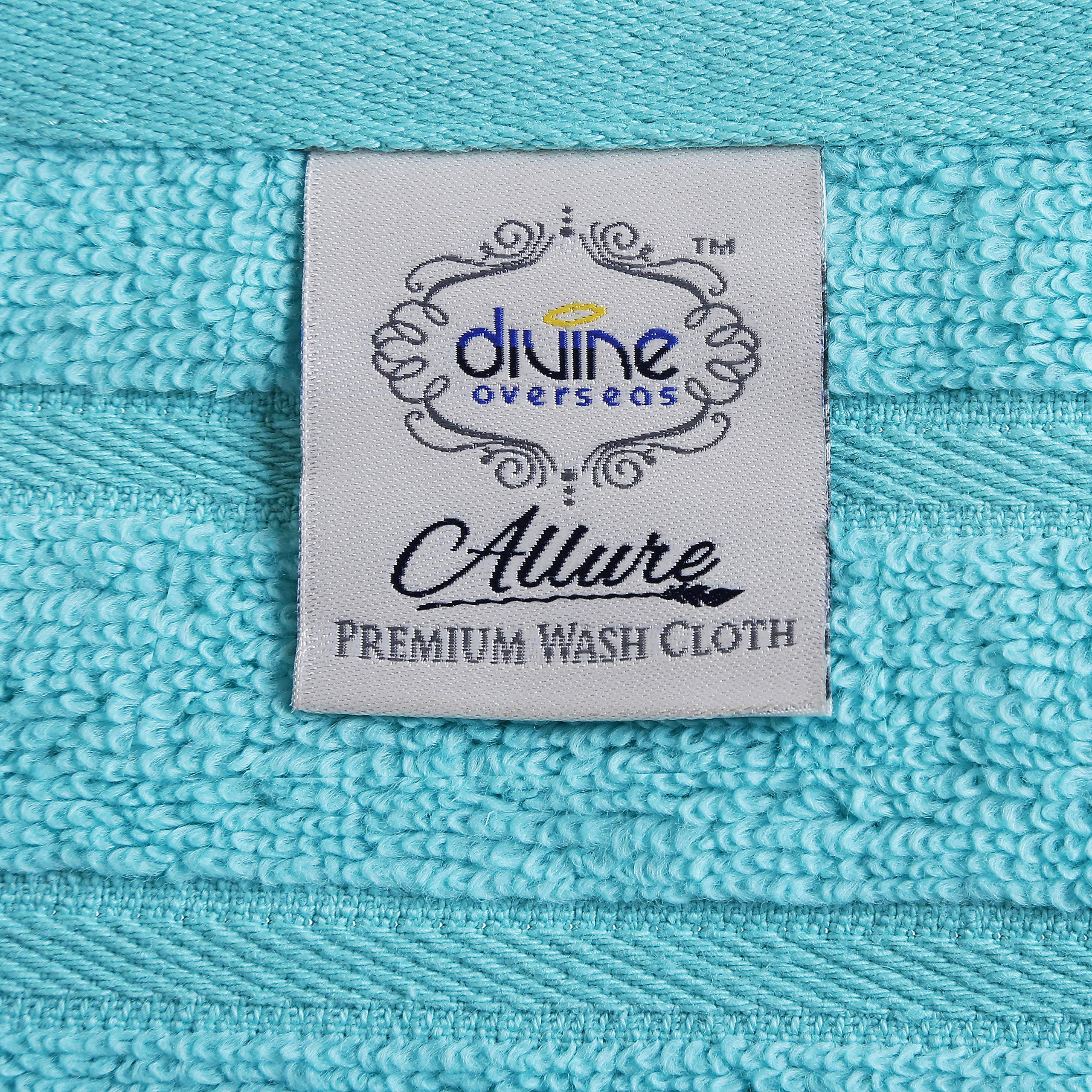 Divine Allure Luxury Zero Twist -100% Naturally Feather Soft Zero Twist Ringspun Cotton Yarn,Extra Large,Elegantly Plush, (8 Pcs Towel Set, Aqua)