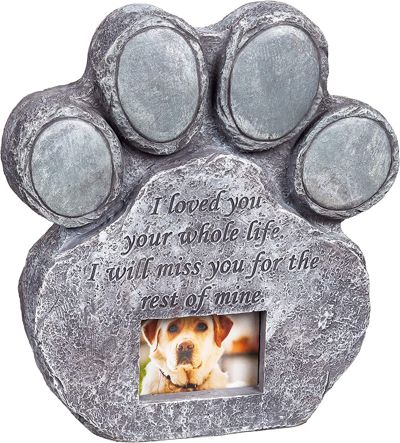 Evergreen Garden Make It Your Own Pet Memorial Stone and Photo Frame - 10 x 2 x 9 Inches Fade and Weather Resistant Indoor Outdoor Statuary for Homes, Yards, and Gardens
