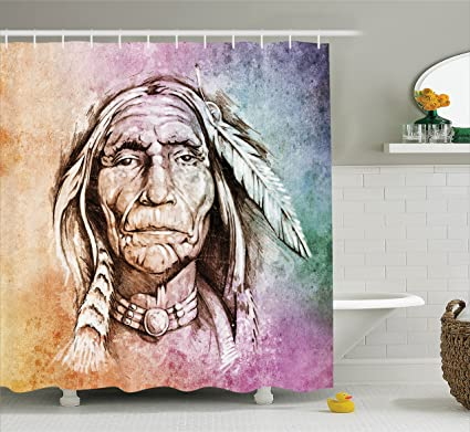 Ambesonne Native American Shower Curtain Portrait Of Tribal Chief With Ethnic Feather Band Watercolor Style