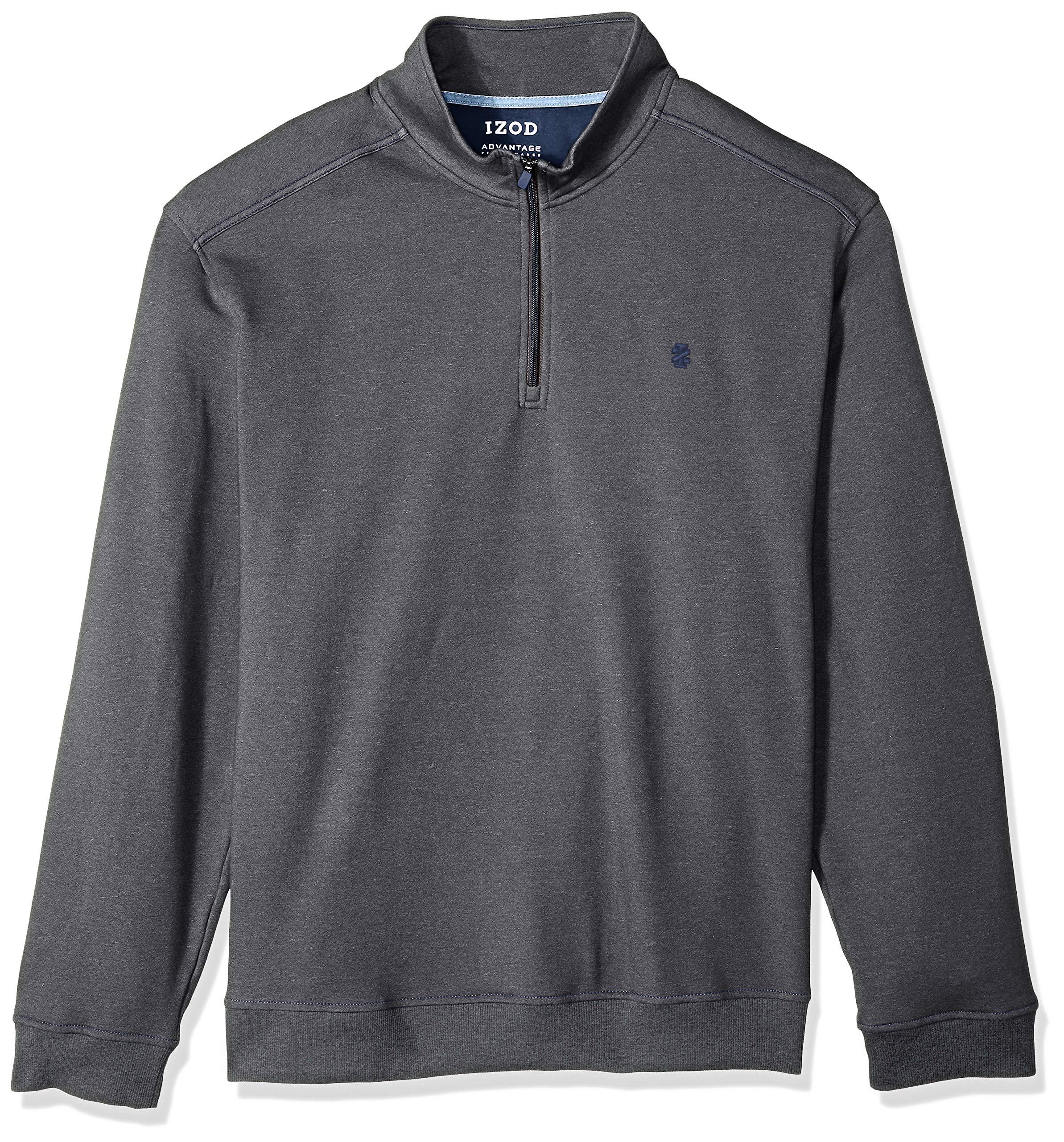 IZOD Men's Big and Tall Advantage Performance Fleece Long Sleeve 1/4 Zip Soft Pullover, Charcoal Grey, 3X-Large Big