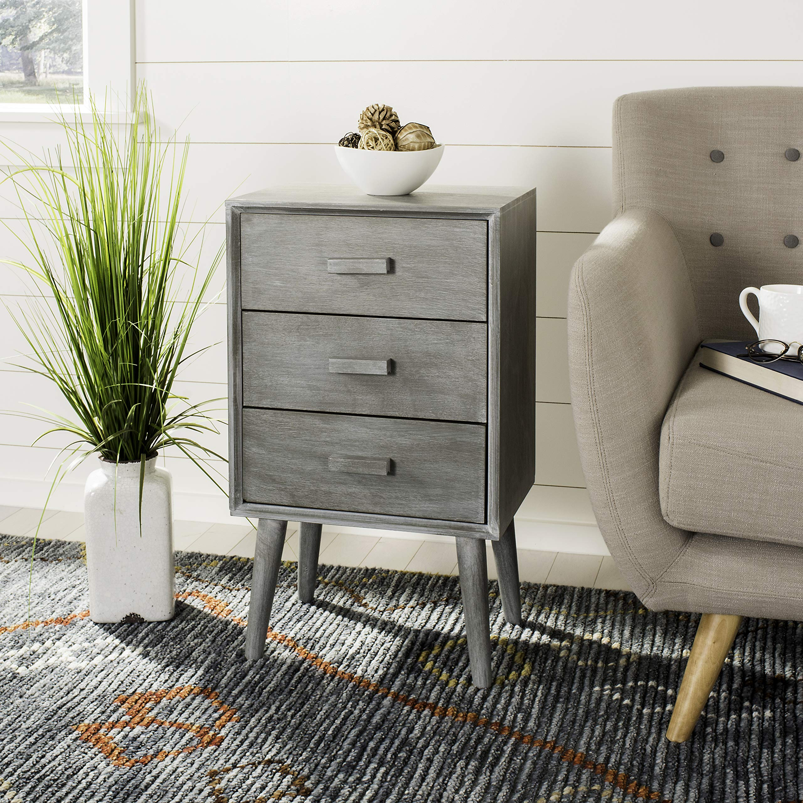 Safavieh CHS5700C Home Collection Pomona Slate Grey 3 Chest of Drawers,