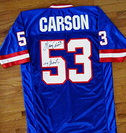 780bc0db7 Image Unavailable. Image not available for. Color  Harry Carson Autographed  Custom Blue Jersey - New York Giants Inscription