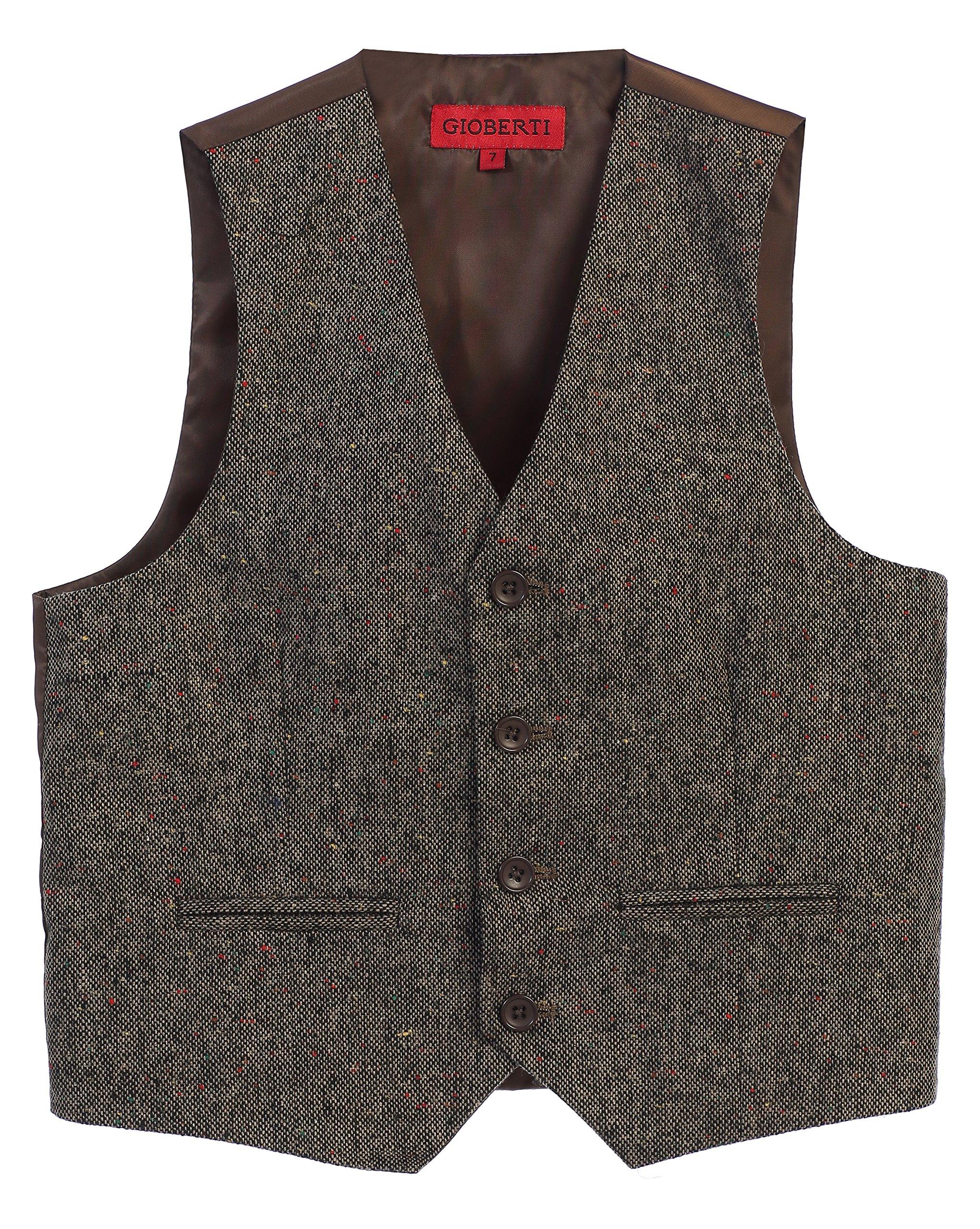 Gioberti Boy's Tweed Plaid Formal Suit Vest, Donegal Brown, Size 10