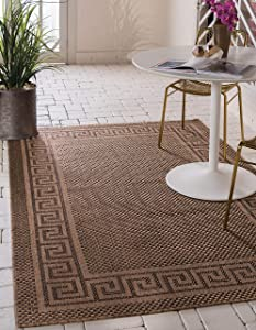 Unique Loom Outdoor Border Collection Casual Greek Key Transitional Indoor and Outdoor Flatweave Brown Area Rug (3' 3 x 5' 0)