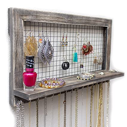 Amazoncom SoCal Buttercup Rustic Jewelry Organizer Wall Mounted