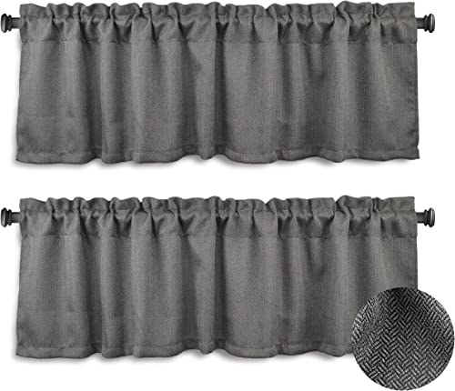 Aiking Window Treatment – Brushed Rod Pocket Window Valance Curtain for Home Kitchen Event Designs, 56 by 16 inch 2-Panels, Steel Gray