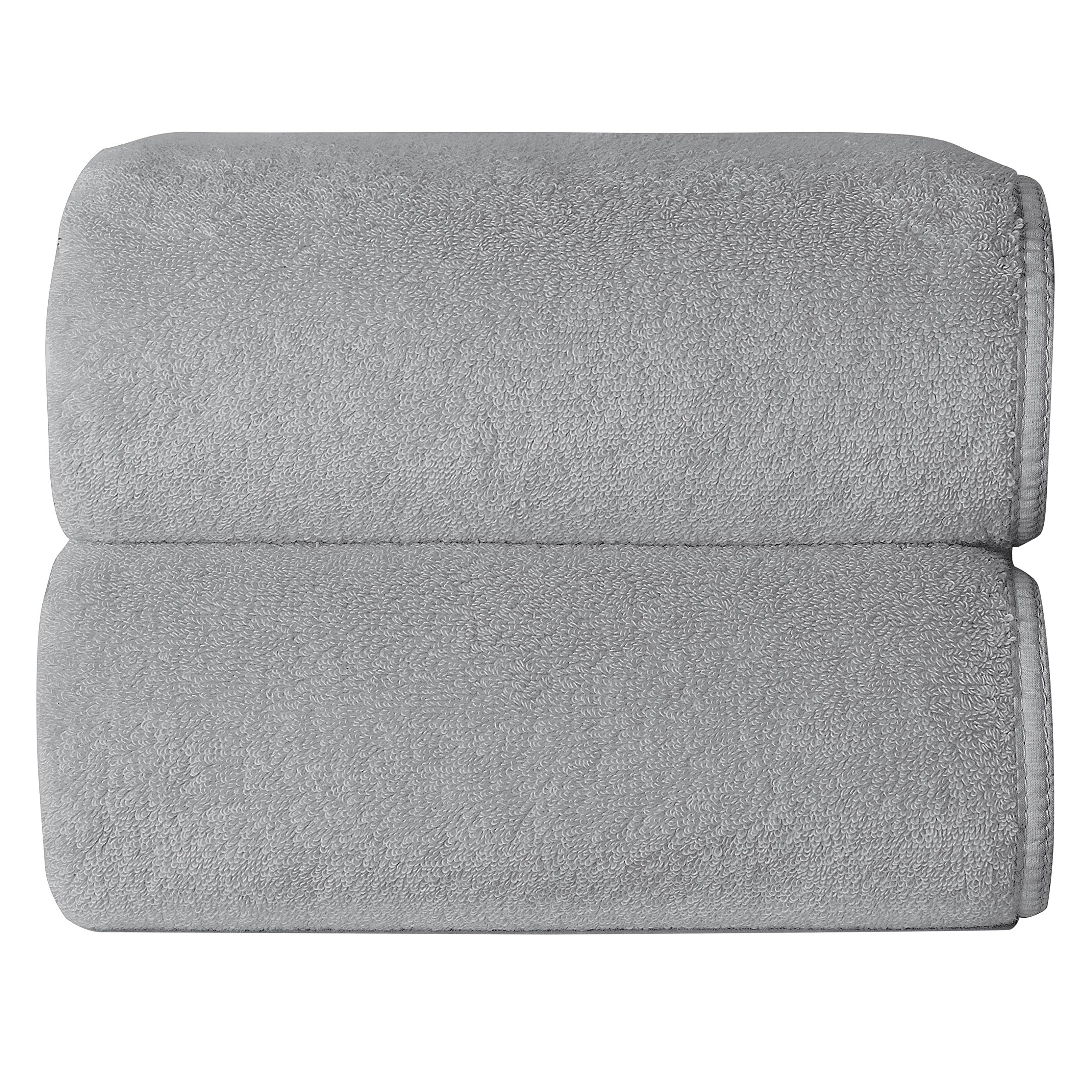 Graccioza Spa Sponge Hand Towels (18'' x 30'') (2-pack) - Silver - Made in Portugal, 650-GSM, Low Twist 100% Superior Combed Cotton Terry
