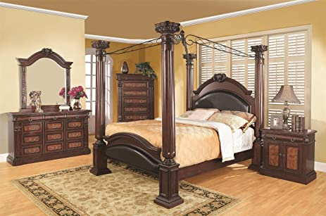 Coaster Grand Prado 4 Piece California King Canopy Bedroom Set