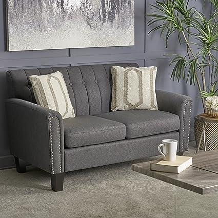 Surprising Christopher Knight Home 303938 Jacopo Traditional Fabric Loveseat Grey Dark Brown Inzonedesignstudio Interior Chair Design Inzonedesignstudiocom