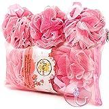 PUREAN Bath Sponge Gift Set – 3 Pink Loofah Sponges, Reusable Zippered Bath Bag & Sponge Hook – Gentle yet Effective Exfoliating Body Care – Soft Mesh Puff offers Rich Foam & Pleasant Showering