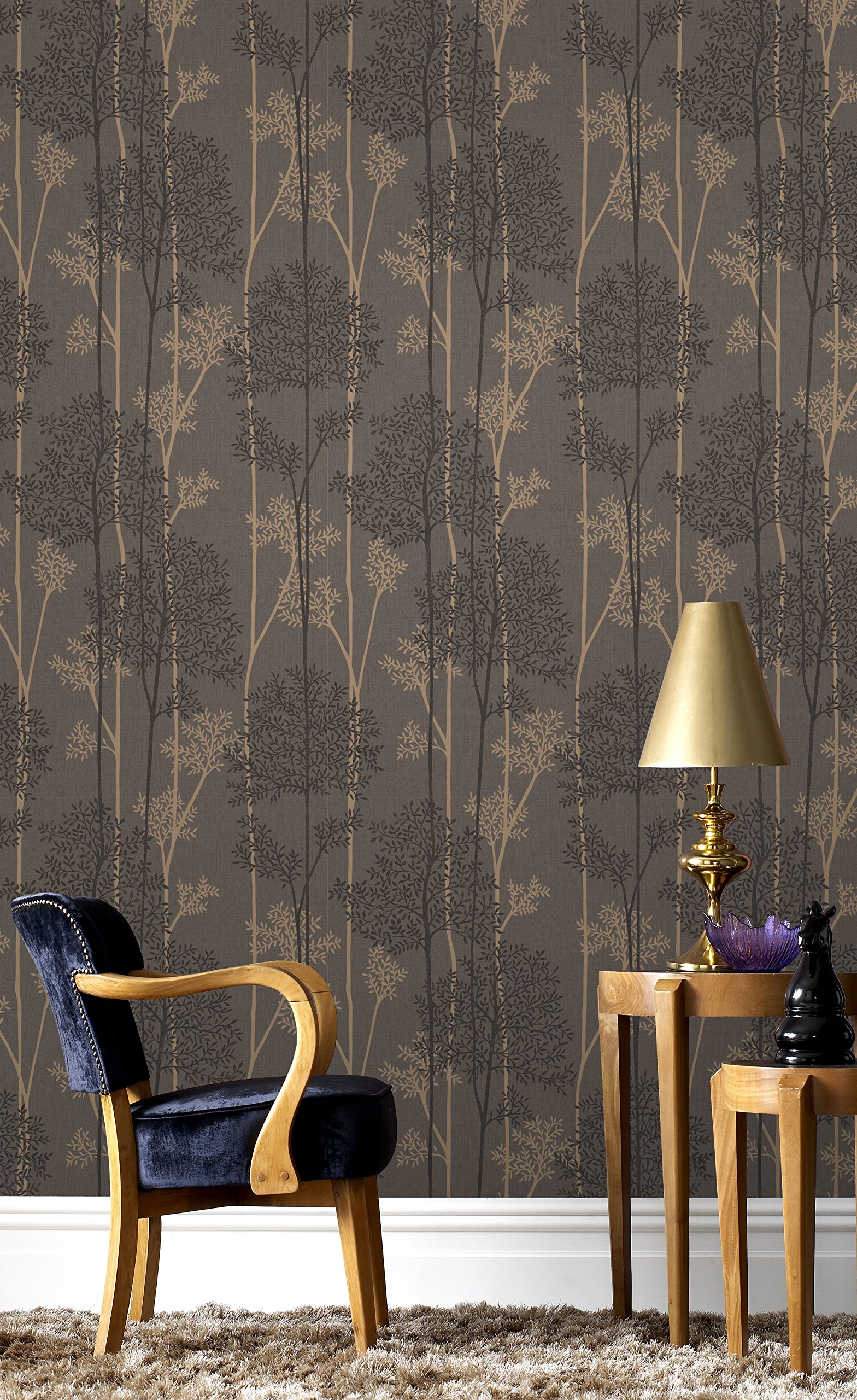 Graham & Brown 33-289 Eternal Wallpaper, Charcoal/Bronze by Graham & Brown
