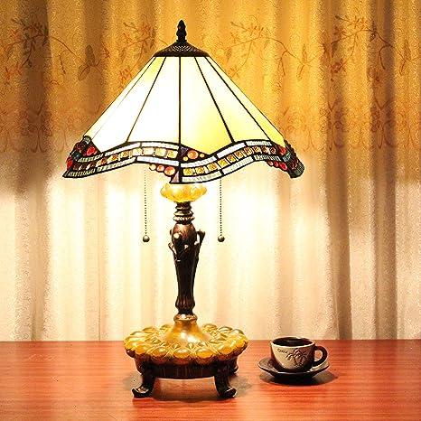 Europea Tiffany Lámpara de mesa de 16 pulgadas Blanco vintage ...