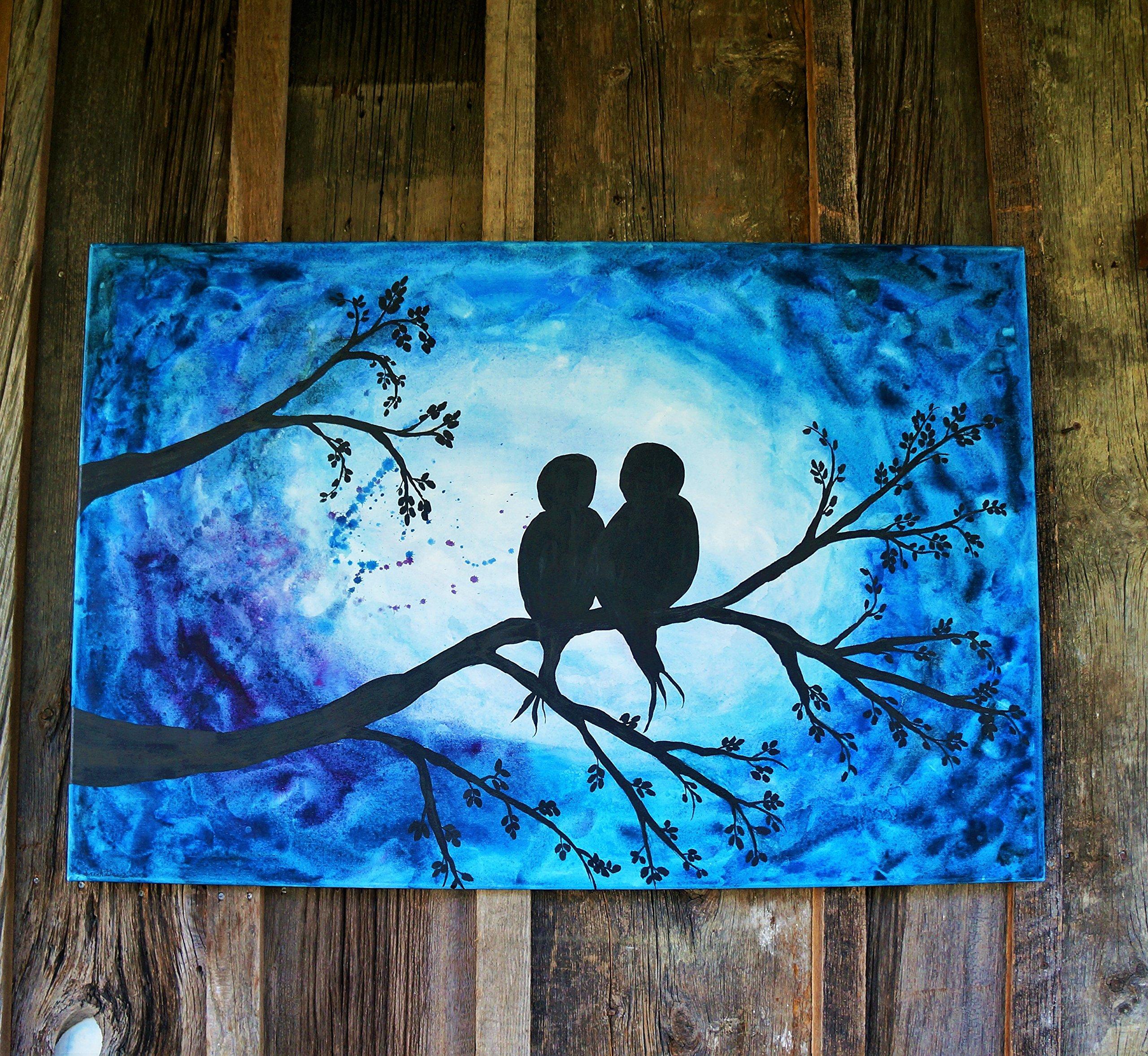 Lovebird painting, Blue bird painting, Original art, Watercolor painting, Wedding gift, Anniversary gift, Large wall art, Midnight painting