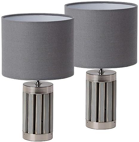Juego de 2 lámparas de mesa o de noche BRUBAKER - altura 33 cm - base de madera/gris metal - color gris textil