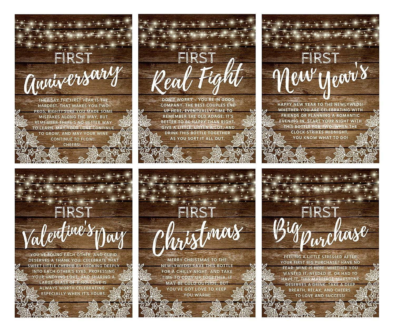 amazoncom wine bottle labels for wedding gift wedding milestones wedding firsts
