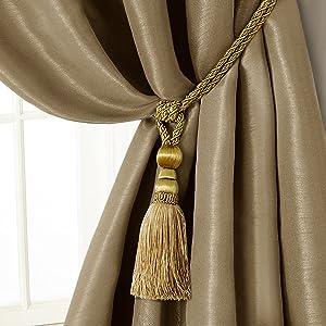 "Elrene Home Fashions 26865902495 Tassel Tieback Rope Cord Fabric Single Window Curtain Treatment Drape Accessories, 24"", Gold"