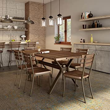 Amisco Dock Metal Chairs And Laredo Table, Dining Set 7 Piece Sets