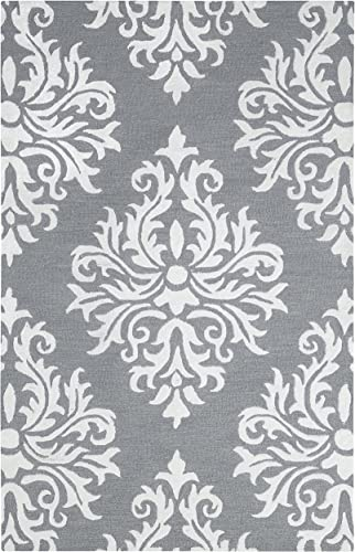 Rizzy Home Eden Harbor Collection Wool Viscose Area Rug, 9 x 12 , Heayher Gray Gray Rust Blue Ornamental