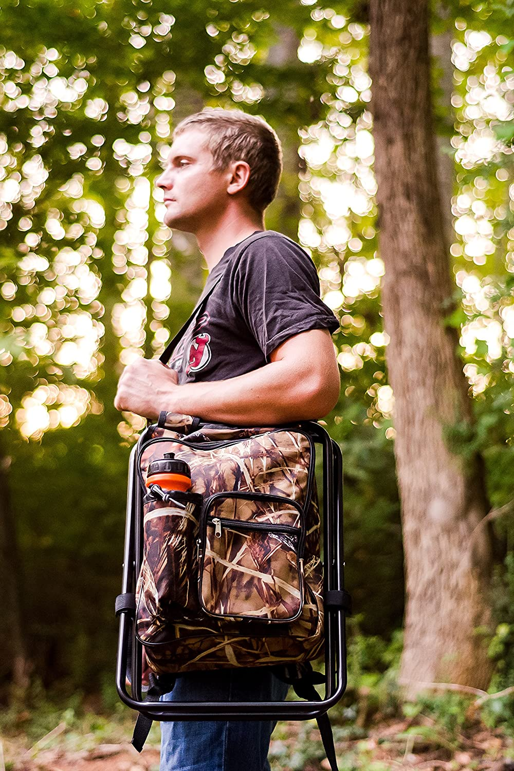 Camco Folding Camping Stool Backpack Cooler Trio- Camping//Hiking Bag with Waterproof Insulated Cooler Pockets and Sturdy Legs for Seating 51908 Great For Travel Camouflage