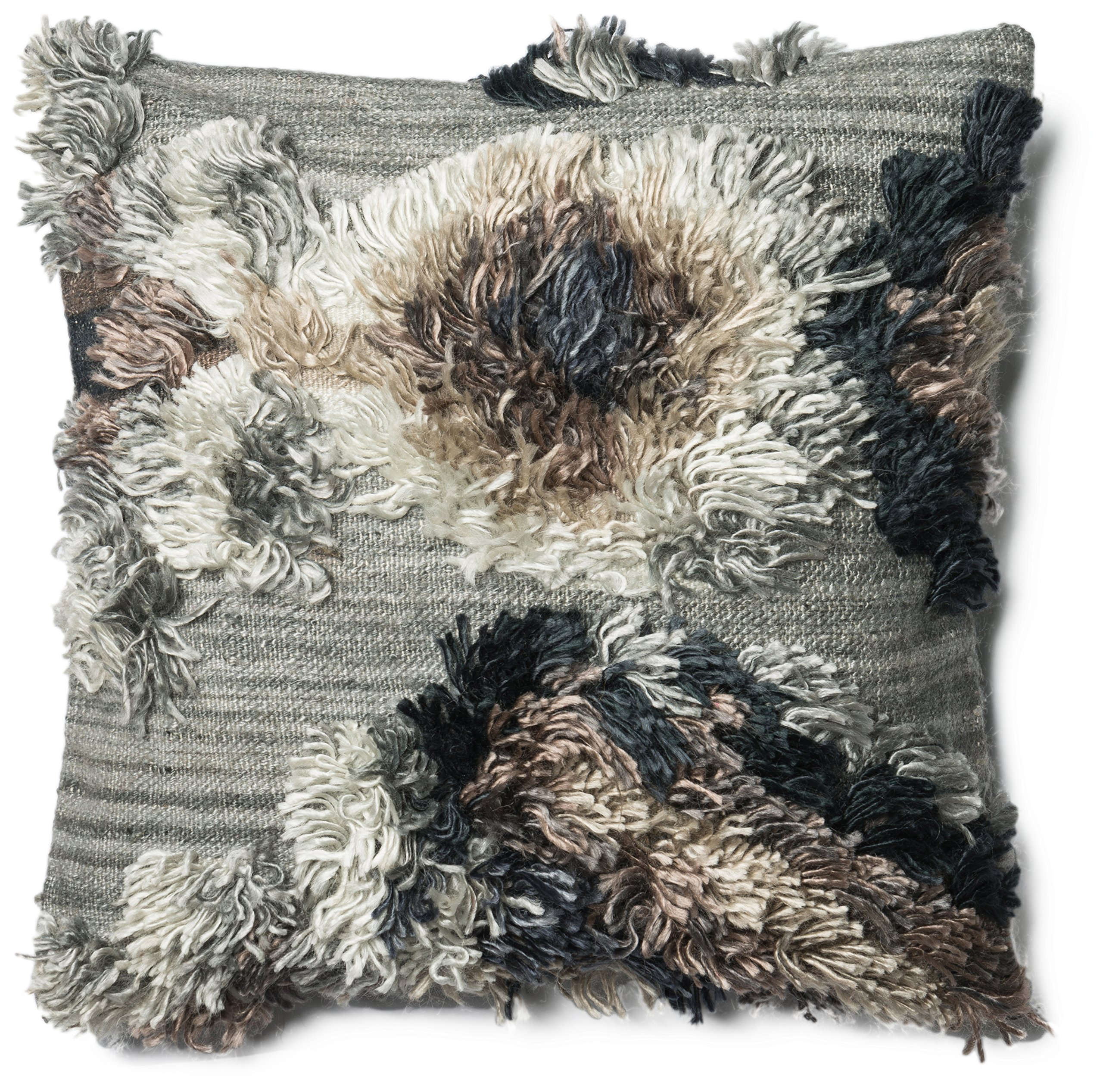 Loloi  Accent  Pillow  PSETP0414GN00PIL3  Granite    22''  x  22''  90%  Wool  With  Metal  &  Crystals  Cover  with  Polyester  Fill