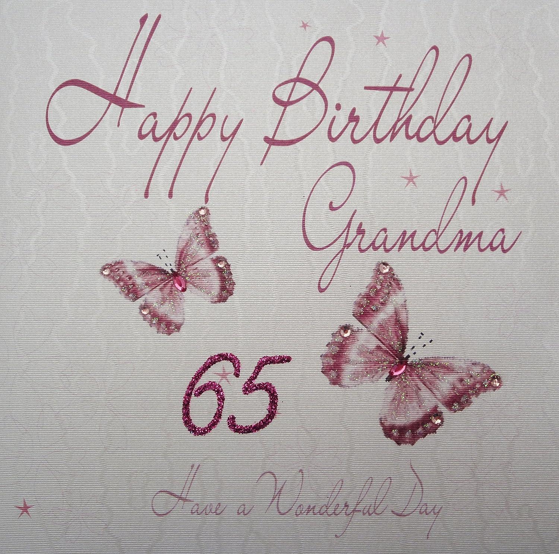 white cotton cards wb8465 Butterflies Happy Birthday Grandma 65 – Mum 65th Birthday Card