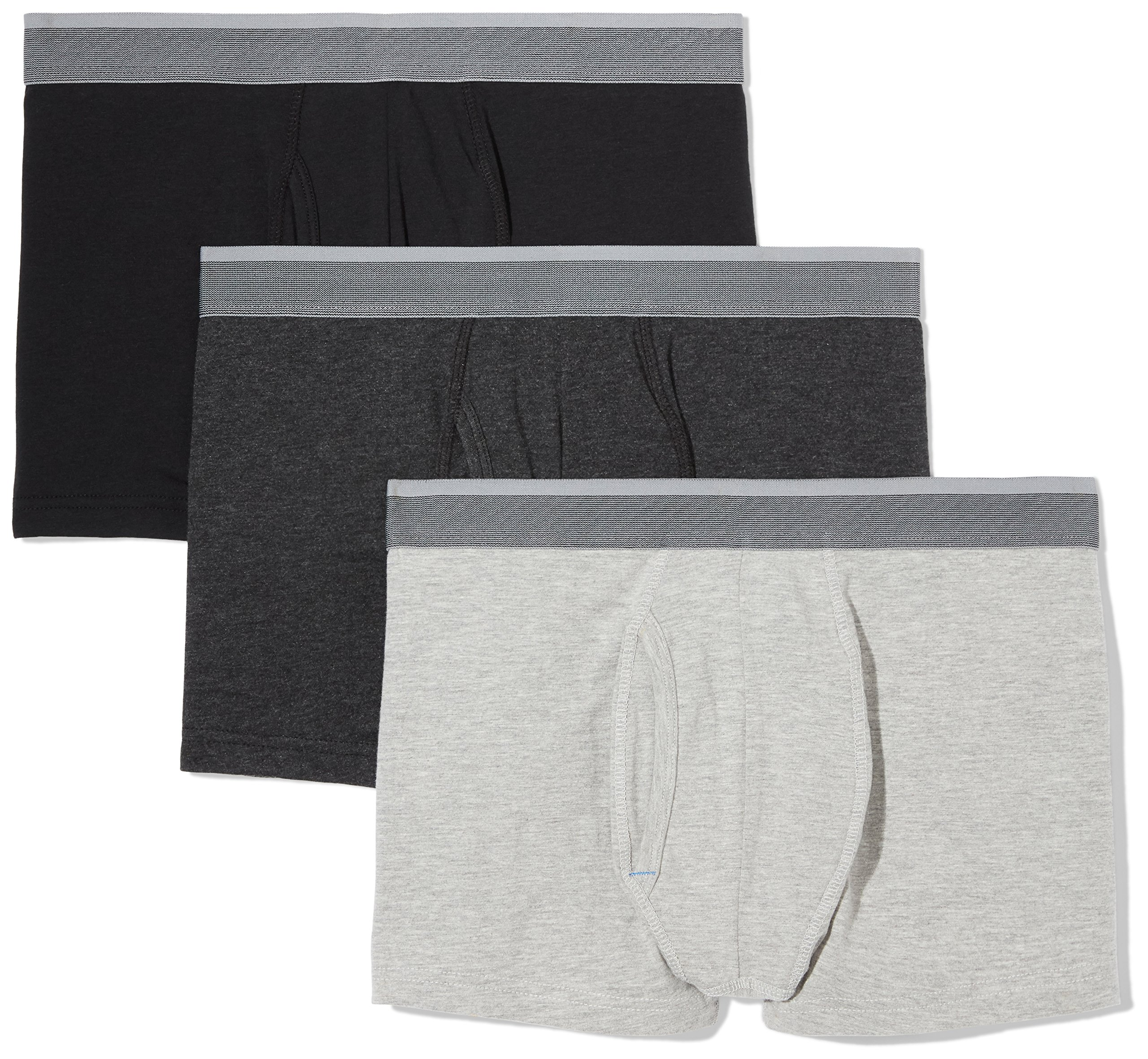 Amazon Essentials Men's 3-Pack Performance Cotton Stretch Trunk, Black/Dark Grey Heather/Light Grey Heather, Large by Amazon Essentials