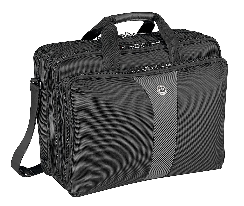 """Wenger 600655 LEGACY 17"""" Triple-Gusset Laptop-Tasche, Flughafen freundlich mit iPad/Tablet/eReader Tasche in Schwarz/Grau {19 Liter}"""