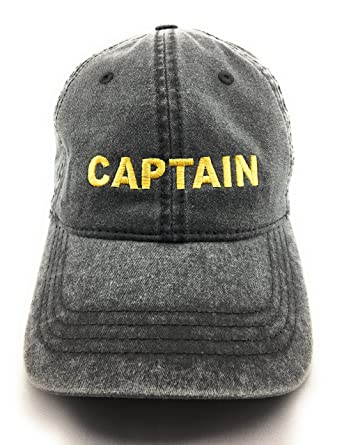 84fb4e9b2ff Gold Captain Text Embroidered Washed Sailor DAD Cap - Black at ...