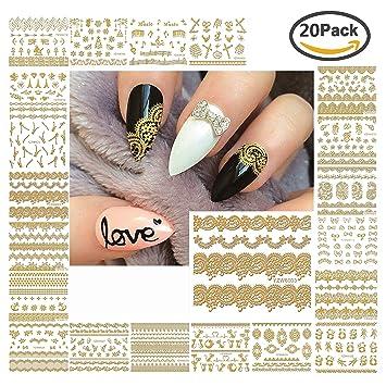 Amazon Light Gold Lace Themed Nail Sticker Nail Art Stickers