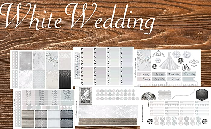 Erin Condren Wedding Planner.White Wedding Planner Calendar Sticker Kit 6 Sheets On Matte Erin Condren And Happy Planner Sizes Kiss Cut Just Peel And Stick