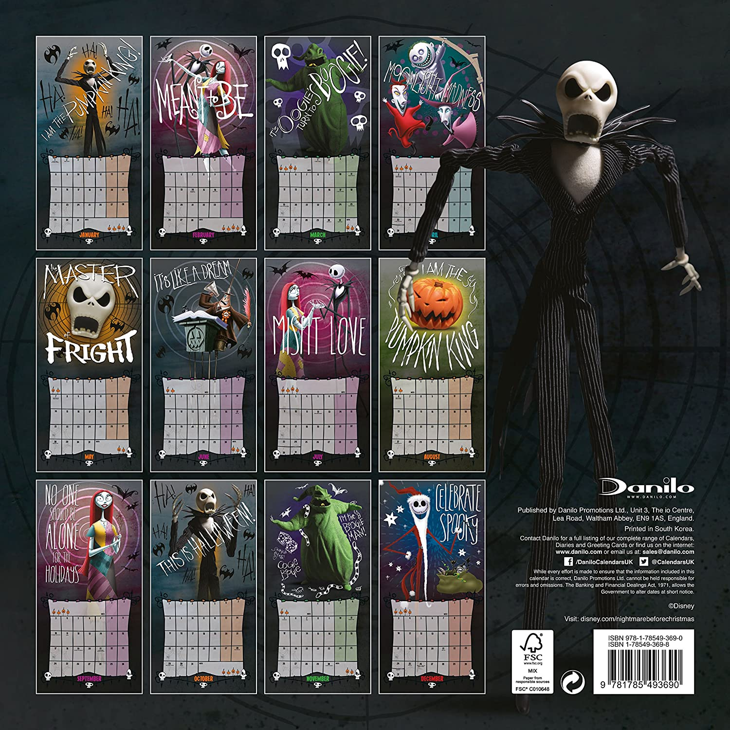 Nightmare Before Christmas Official 2018 Calendar - Square Wall Format Calendar (Calendar 2018) Disney Danilo Promotions 2018 1785493698 Calendario