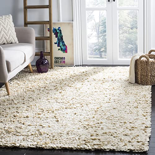Safavieh Manhattan Collection MAN415A Hand Woven Ivory Wool Area Rug 8 x 10