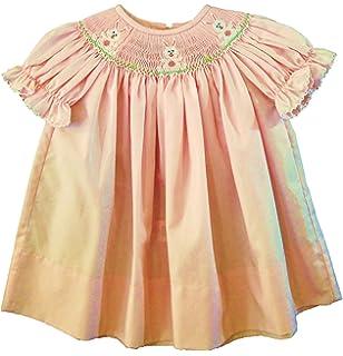 b4d3ea0e749 Amazon.com  Edgehill Collection Shimmery Ivory Smocked Baby Dress ...