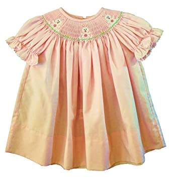 e48514eeb Amazon.com: Edgehill Baby Dress, Pink Smocked with White Easter ...