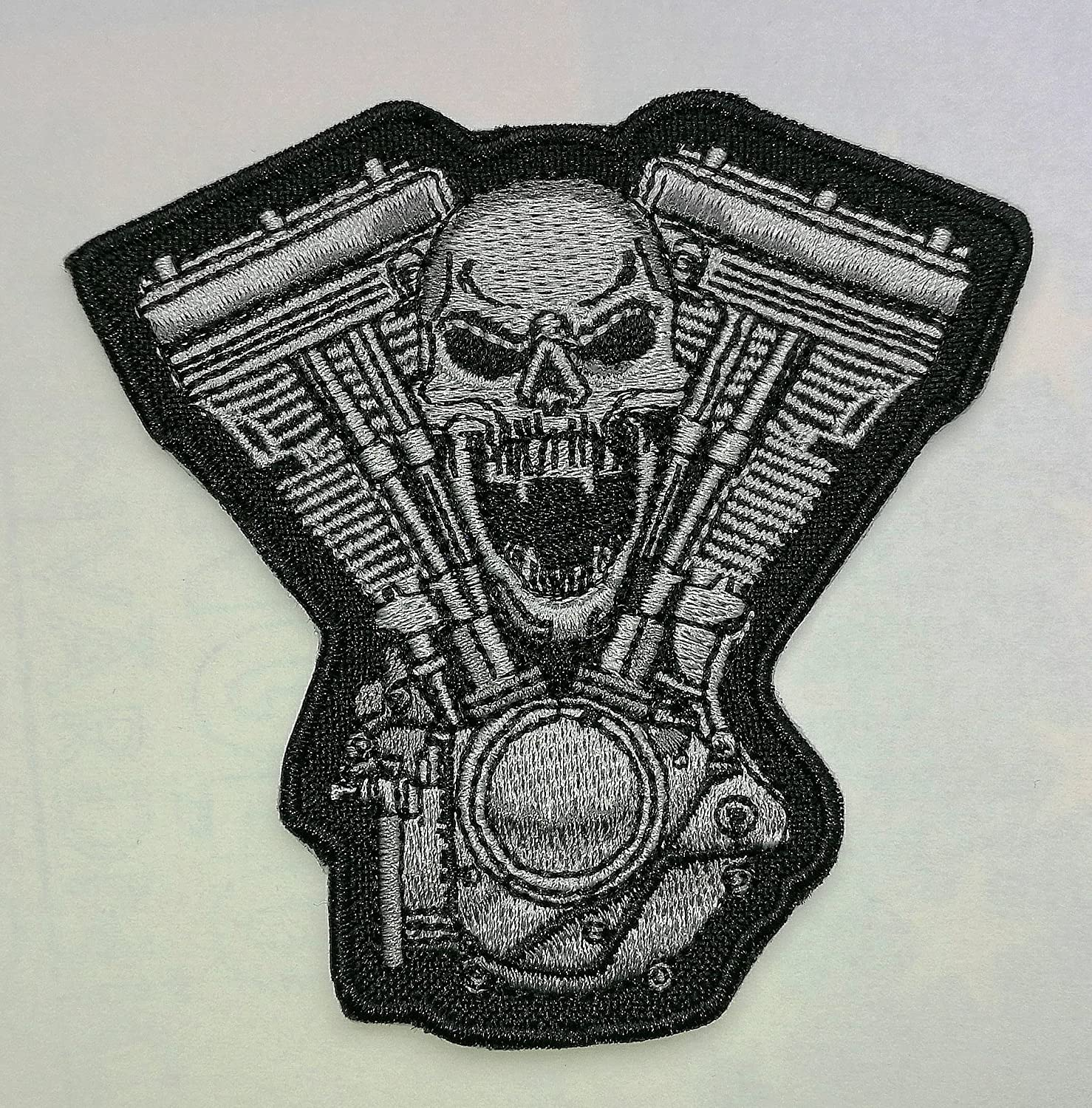 Skull V Twin Motorcycle Biker Embroidered Cloth Iron On Patch