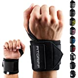 "Wrist Wraps by FITGRIFF - 18"" Wrist Support Braces for Men & Women - Weight Lifting, Crossfit, Powerlifting, Strength Training"