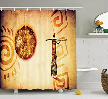 Ambesonne African Decorations Shower Curtain Set Exotic Tribal Patterns With Sun And Infinity Symbols