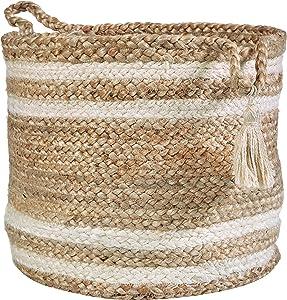 """LR Home Montego Decorative Storage Basket, 19"""" High, Natural Jute"""