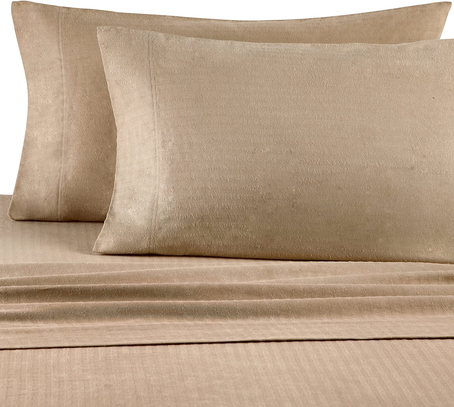 Casual Living Heavyweight Damask Stripe Flannel Sheet Set, Queen, Linen
