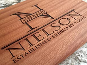 Personalized Gifts Couples Cutting Board - Wood Cutting Boards Bridal Shower, Housewarming, and Wedding Gifts (10 x 15 Mahogany Rectangular, Nielson Design)