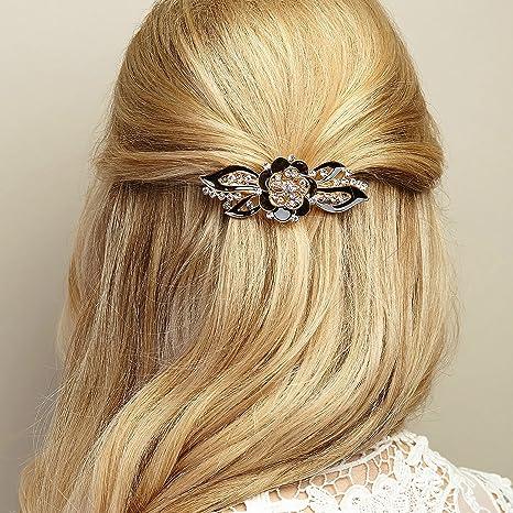 Prix de gros 2019 choisir officiel vente professionnelle Pince à cheveux fleur émail fleur pince à cheveux Barrette ...