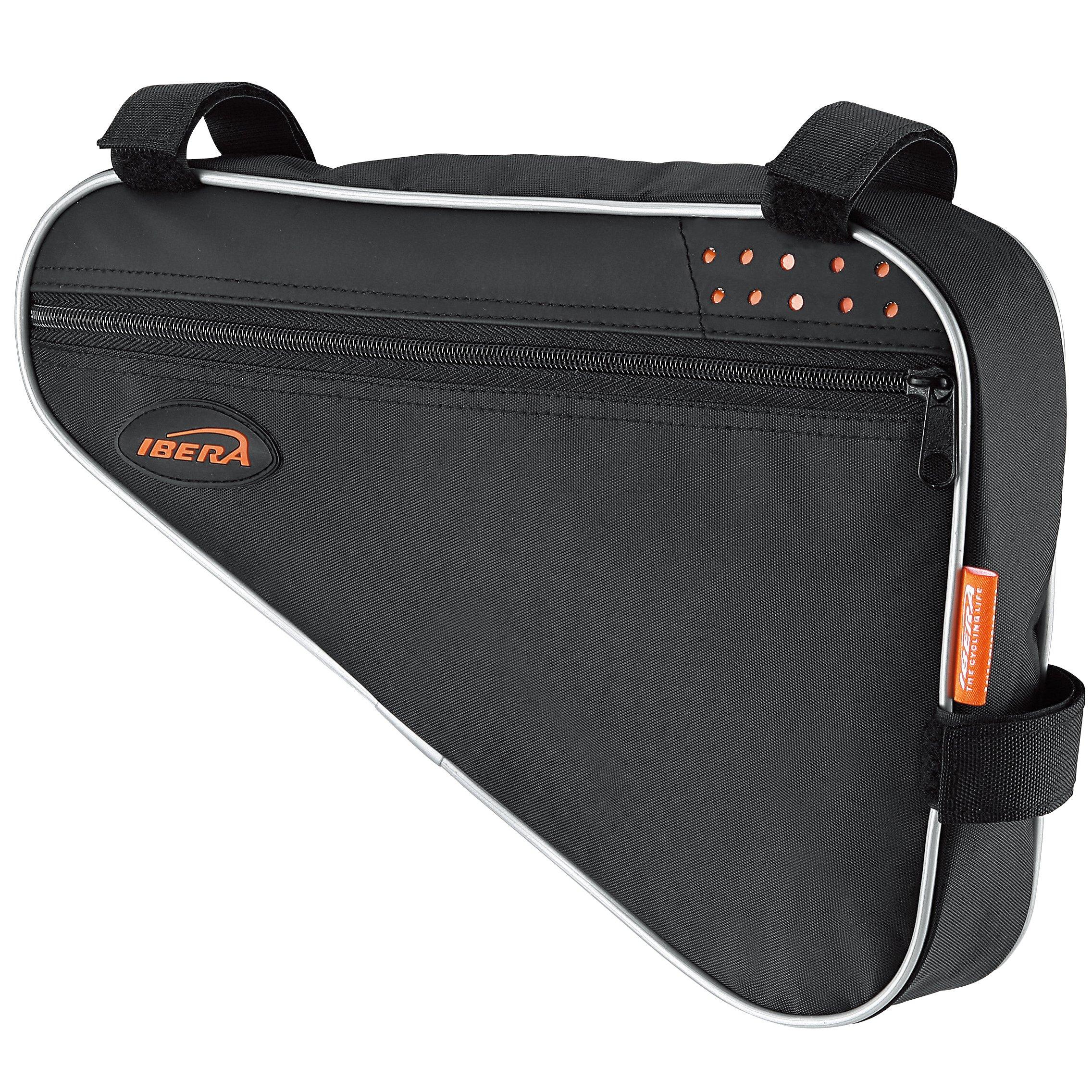 Ibera IB-FB1-M Bicycle Triangle Frame Bag, Strap-on Bike Top Tube Pouch, Cycling Essential Saddle Frame Bag with Reflective Trim, Crossbar Bike Pack(Medium: 3L Capacity)