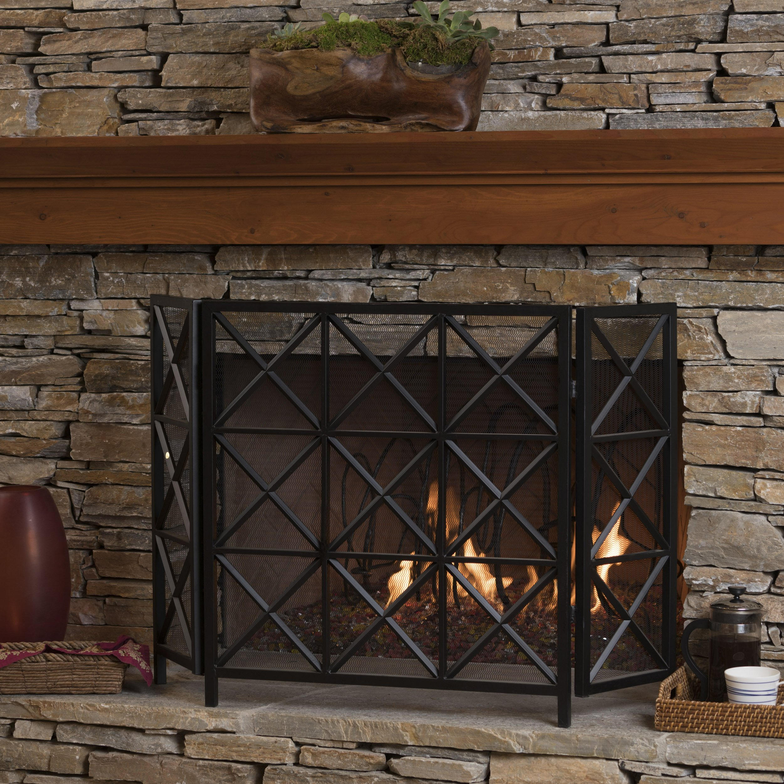 Christopher Knight Home Mandralla 3 Panelled Black Iron Fireplace Screen by Christopher Knight Home