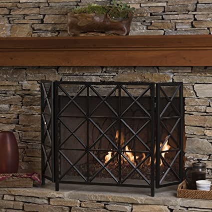 Amazon Com Mandralla 3 Panelled Black Iron Fireplace Screen Home