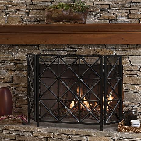 black iron fireplace screen. Mandralla 3 Panelled Black Iron Fireplace Screen Amazon com
